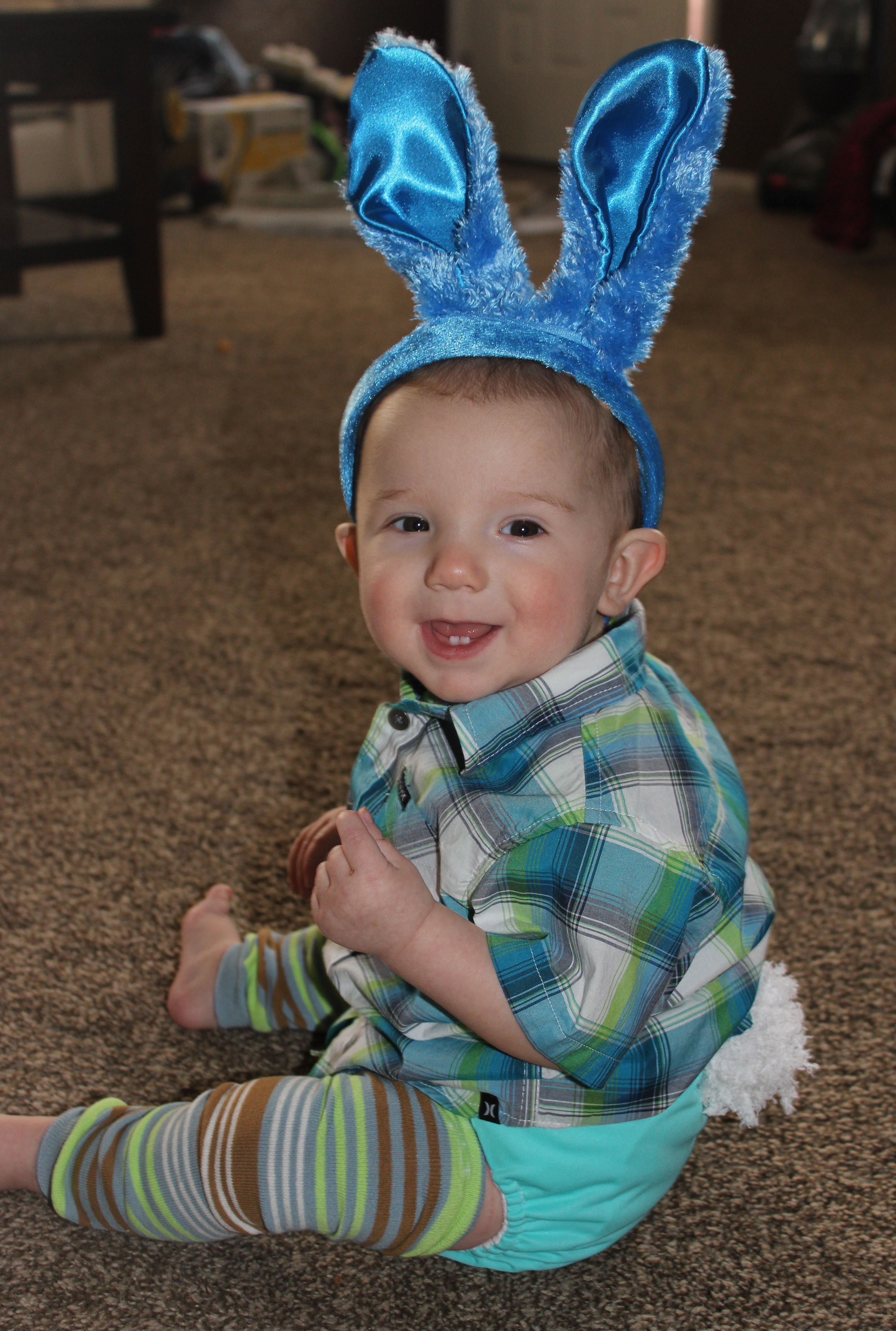 @DiaperShops  #clothdiaperlove My little Easter bunny in his favorite diapers. We love cloth diapers because they are so cute and No more red bums means more of my adorable little smiles :)