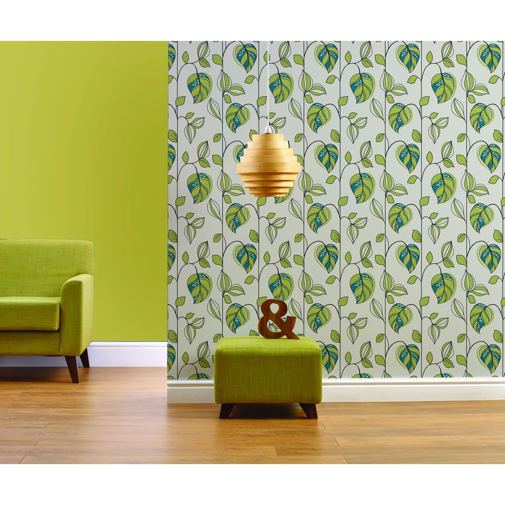 Wilko Leaf Green And Teal Wallpaper Teal wallpaper