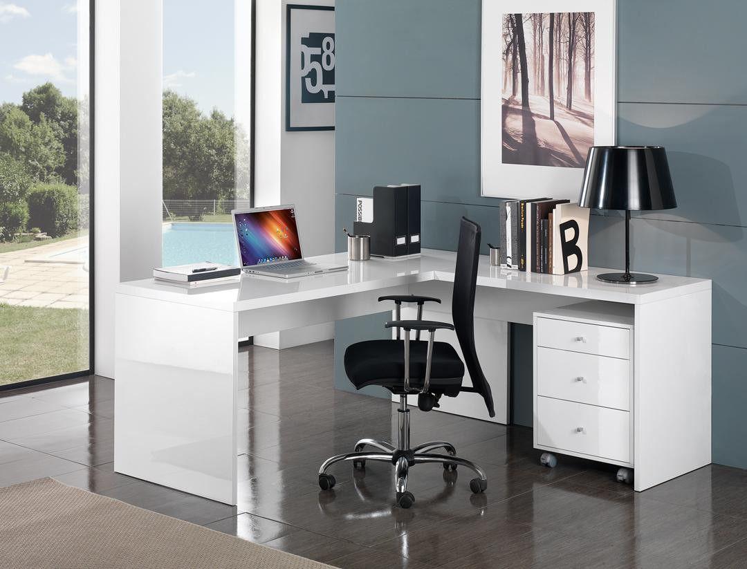 Bureau D Angle Design Avec Caisson Coloris Blanc Laqué Sévina