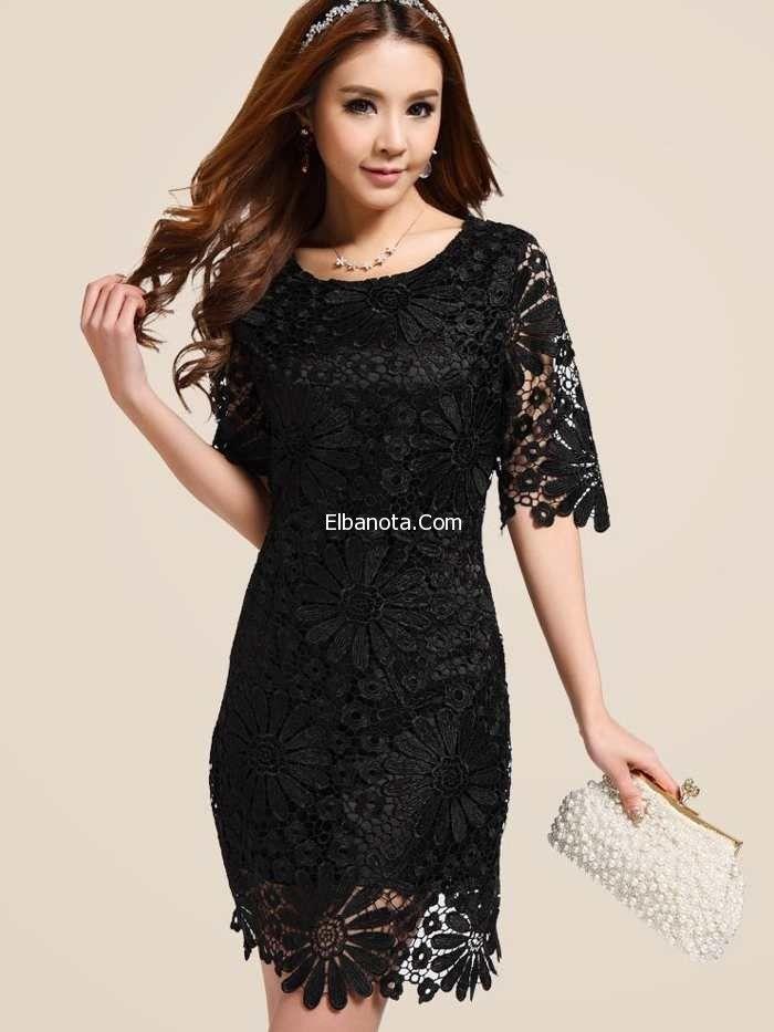 فساتين الدانتيل الأسود القصيرة لإطلالة مفعمة بالأنوثة Lace Dress With Sleeves Dresses Lace Blue Dress