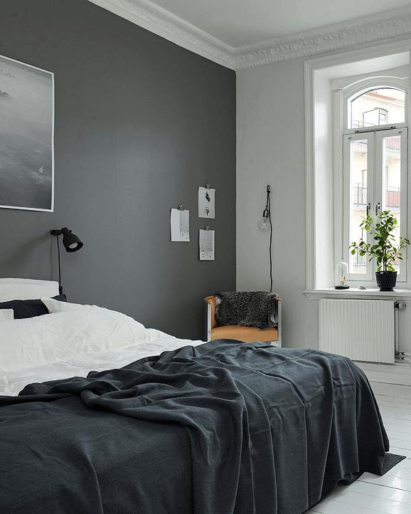 deco-chambres-look-noir-black-and-white-decoration-peinture-mur ...