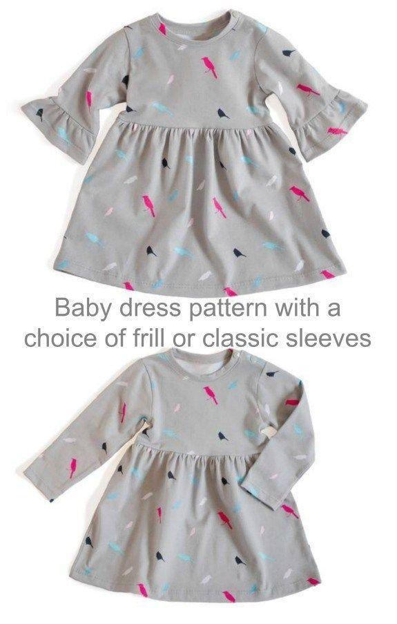 Photo of Schnittmuster für Baby Mädchen Kleid für Alter von 1-24 Monaten. Kleinkinder …