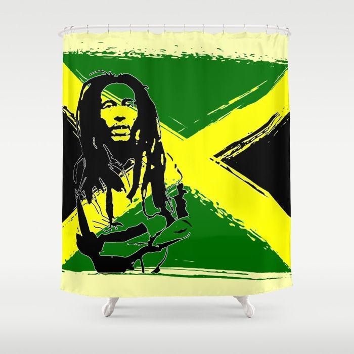 Feeling Rasta Green Rastafarian Stencil Artwork Jamaica Flag Reggae Music Customize Your Bathroom Decor With Unique Shower Curtains Designed