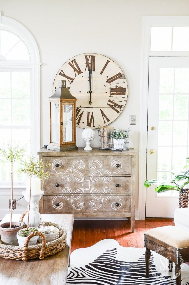 Huge Clock, Basket Tray On Table With Terra Cotta Pots...vintage Metal