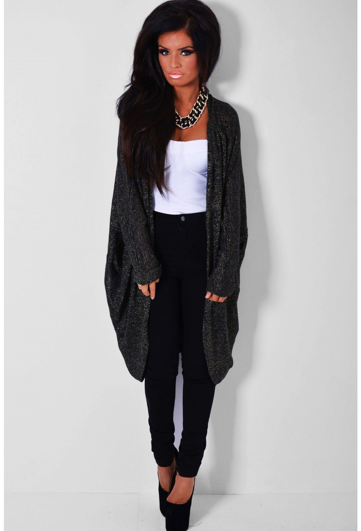 Ultimo Charcoal Black Metallic Cocoon Cardigan | outfits & clothes ...