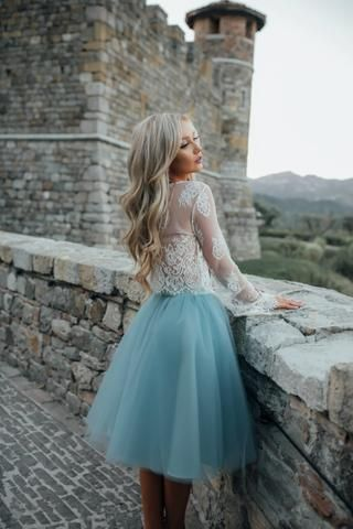 53ed39c8e47 A-line Scoop Long Sleeve Homecoming Dress Tulle Green Short Prom Drsess  With Lace SKY840