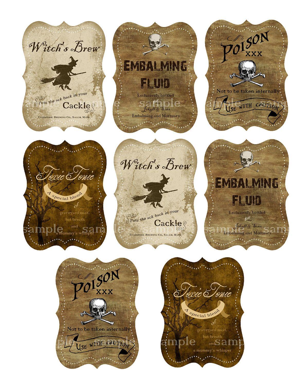 Grungy Halloween Bottle Labels Digital Collage Sheet