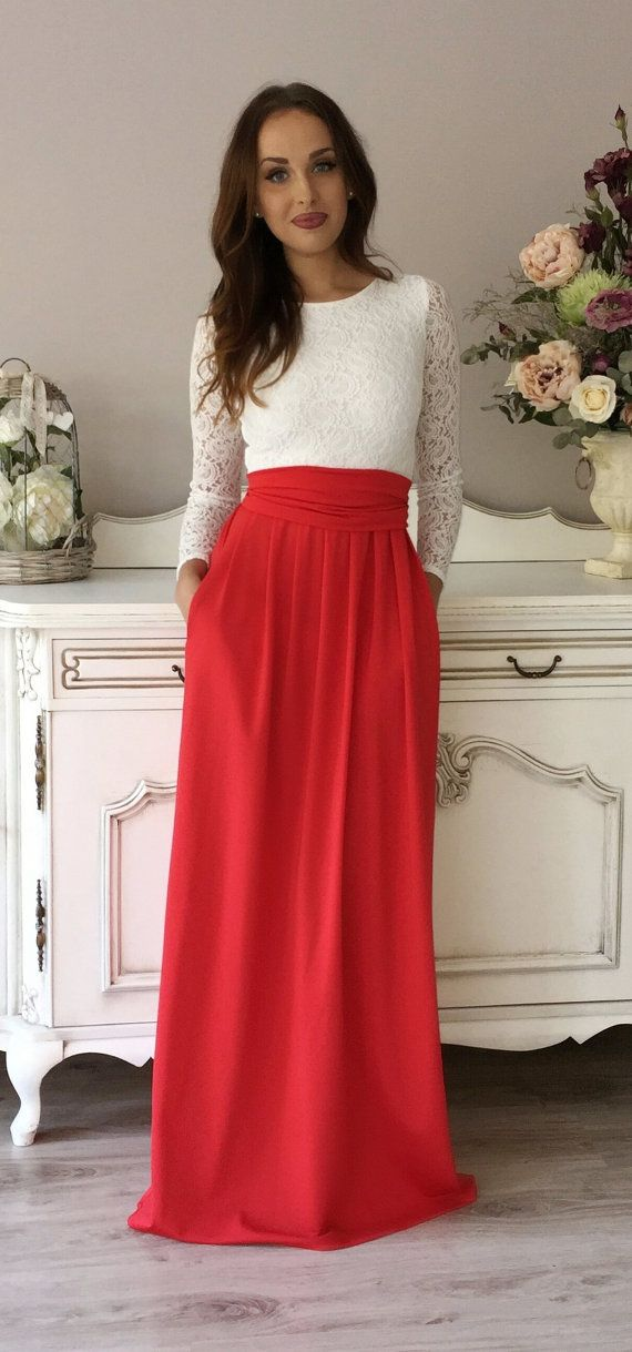 White Top Lace- Red Maxi Dress Round Neckline Long Sleeves Pockets ...