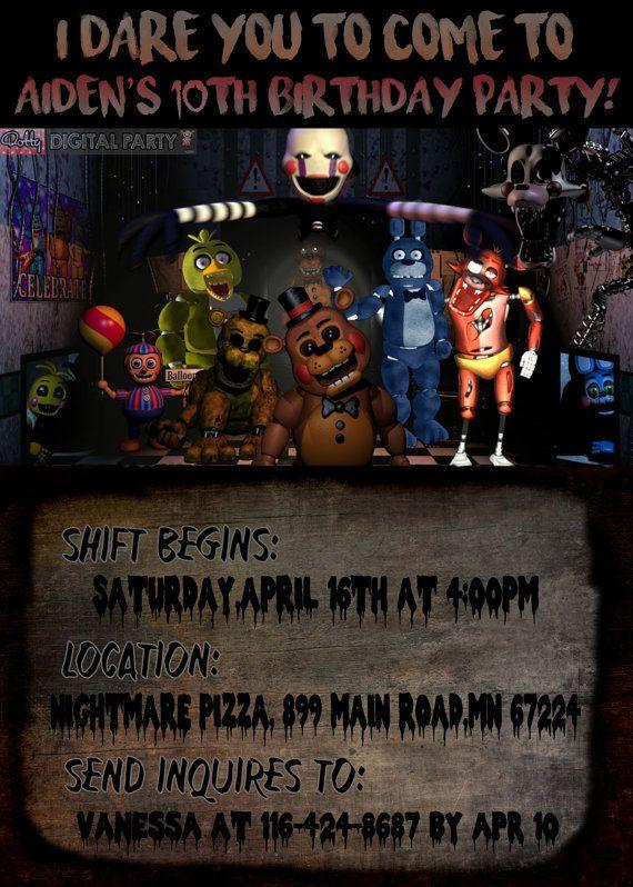 Five Nights At Freddys Birthday Party By DottyDigitalParty