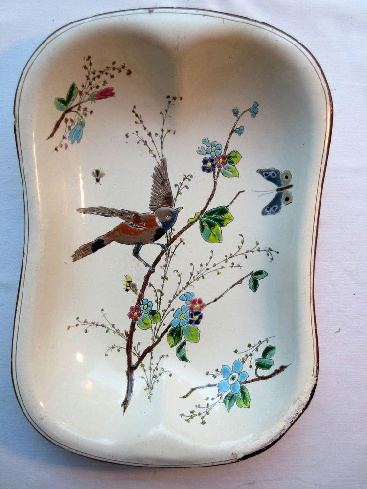 Ancien plat tôle émaillée, no cafetière: Oiseau + Fleurs, Art Déco signé Dec 15