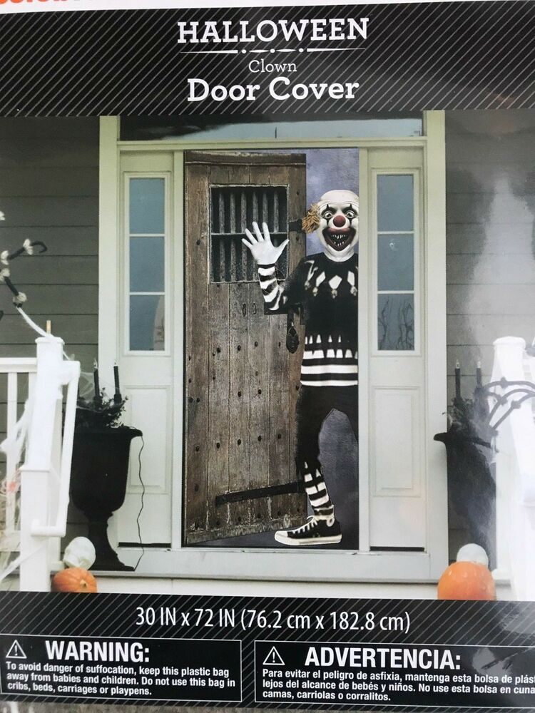 Creepy Clown Door Cover Wall Decoration 30 X 72 Scene Setter Party Prop Celebrate Halloween Scary Clowns Scary Halloween Haunted House Decorations