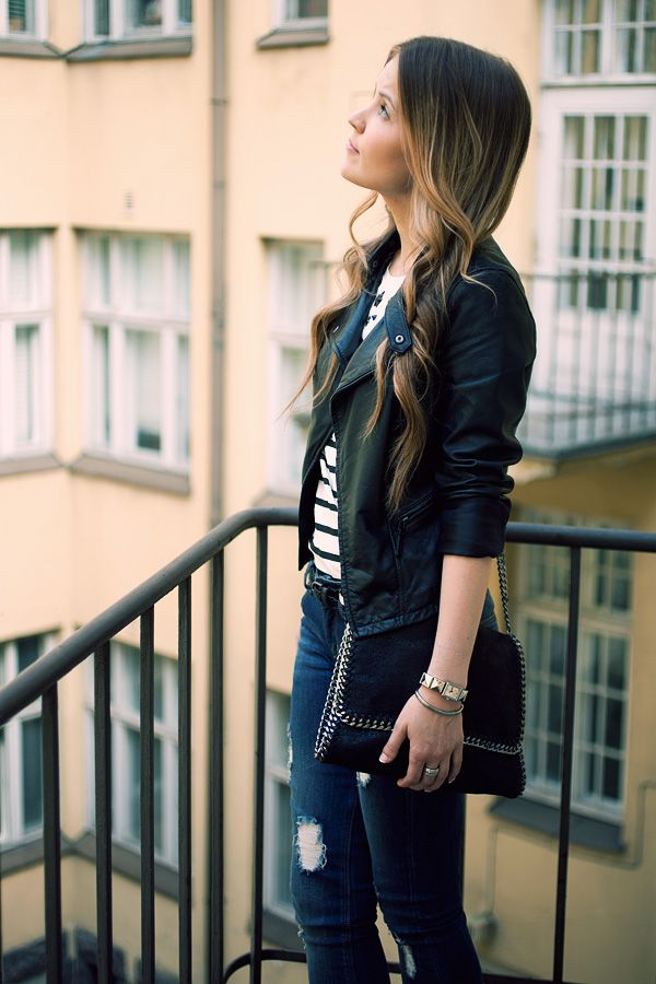 Casual in stripes and leather.