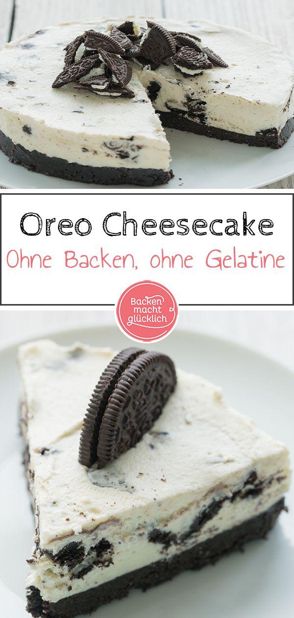 OreoTorte ohne Backen is part of No bake oreo cheesecake - Diese Kühlschranktorte ist ein Muss für alle OreoFans Der No Bake Cheesecake ohne Gelatine ist eine köstliche Kombi aus knusprigen Schokokeksen und sahniger Frischkäsecreme