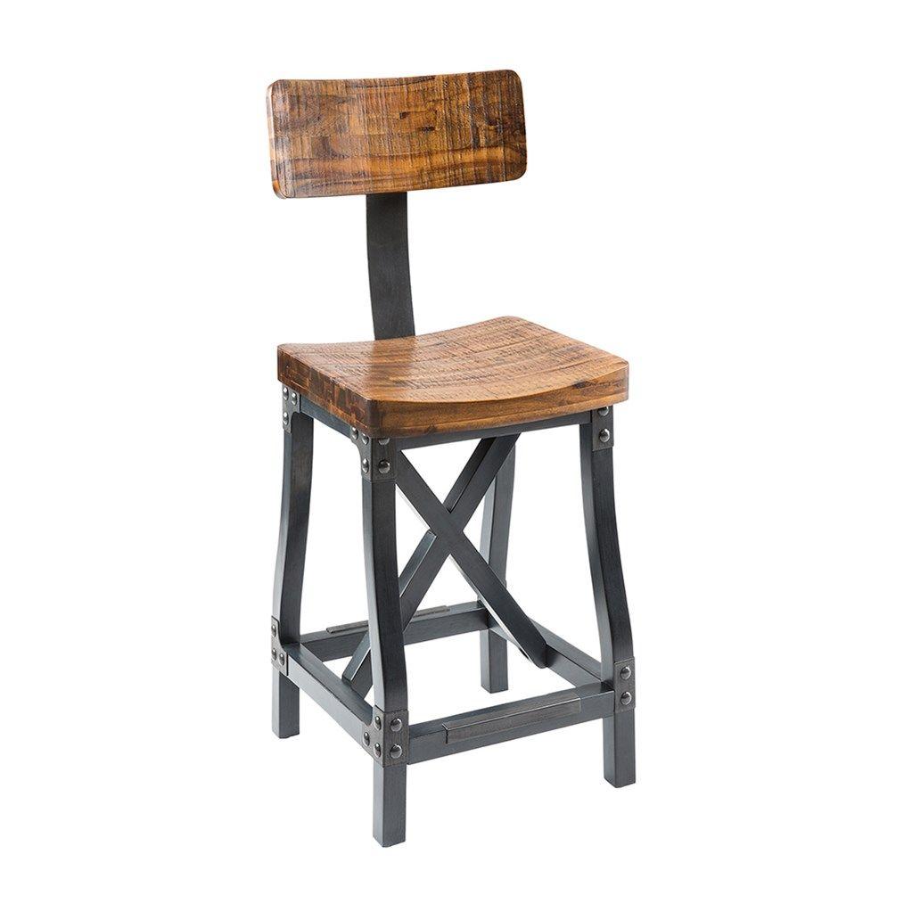 Cheyenne Rustic Industrial Bar Stool W Optional Back