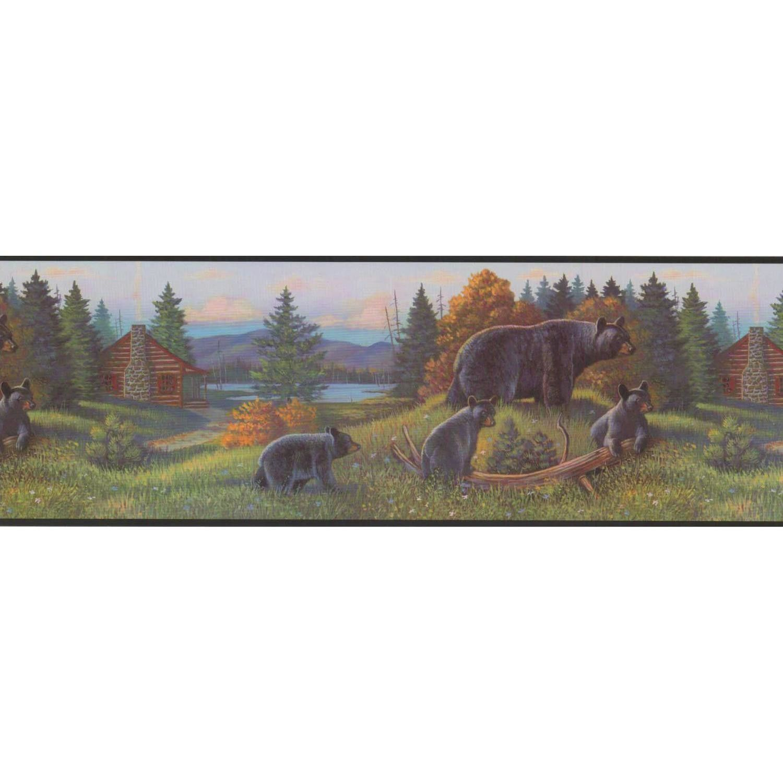 "Portfolio II 15' x 9"" Bear Border Wallpaper Black bear"