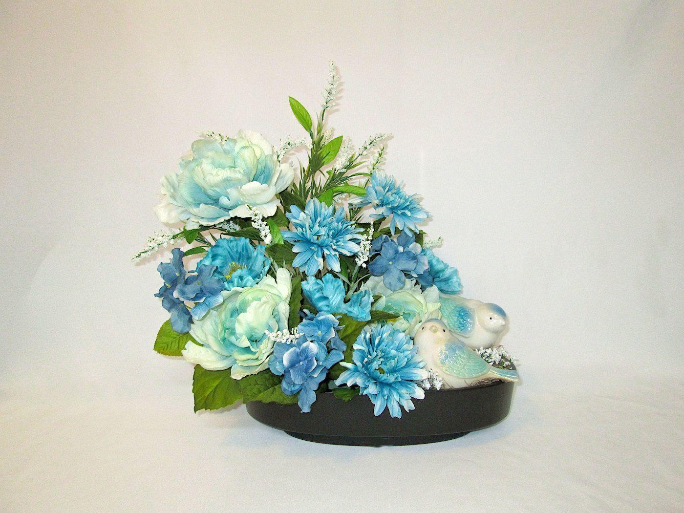 Silk flower arrangement in a ceramic dish with blue and mint green silk flower arrangement in a ceramic dish with blue and mint green birds floral arrangement mightylinksfo Images