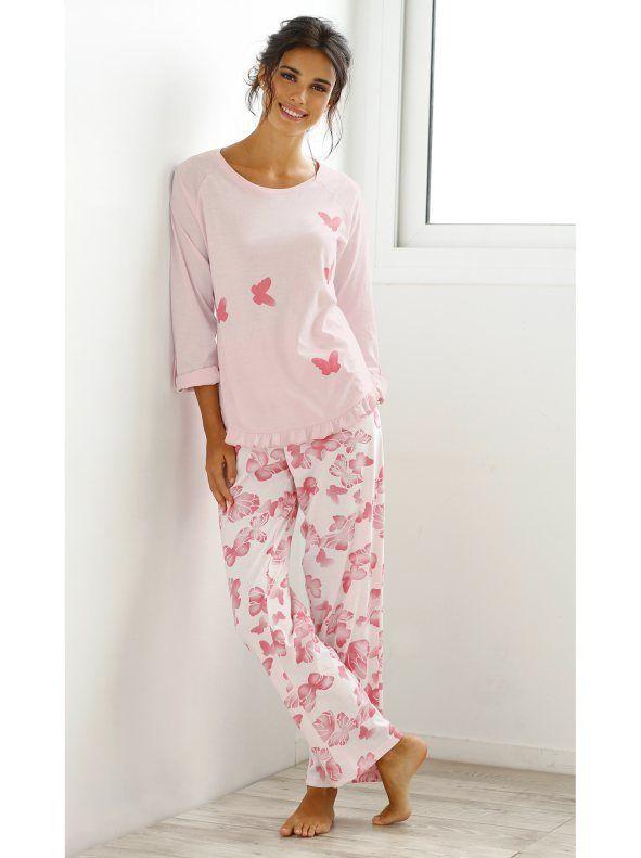 Pijama largo mujer estampado romántico de algodón