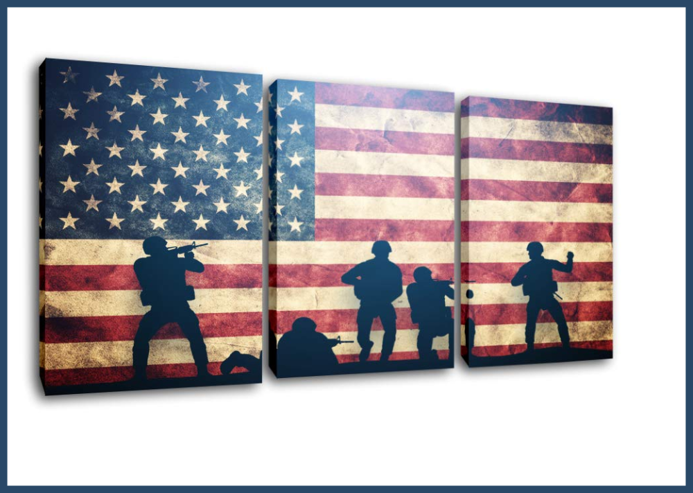 Patriotic Decor 3 Piece Soldier Silhouette Flag Wall Canvas Patriotic Wall Art Red Artwork American Flag Pictures