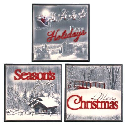 "Vintage Christmas Holiday Wall Hanging Set of 3 11.75"" x 11.75"" Material: MDF (wood product) Black, White, Red Assorted: Set includes one of each style ""Merry Christmas"" ""Seasons"
