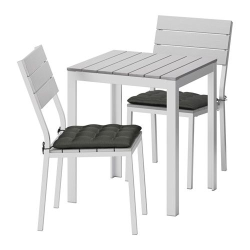 IKEA   FALSTER, Table+2 Chairs, Outdoor, Falster Gray/Hållö Black, ,  Polystyrene Slats Are Weather Resistant And Easy To Care For.