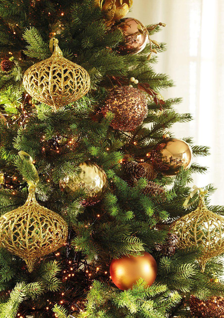 Abeto bolas doradas y bellotas de purpurina en los for Fronda decoracion
