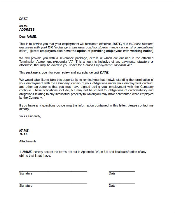 Sample Termination Letter Examples Word Pdf Template Employee