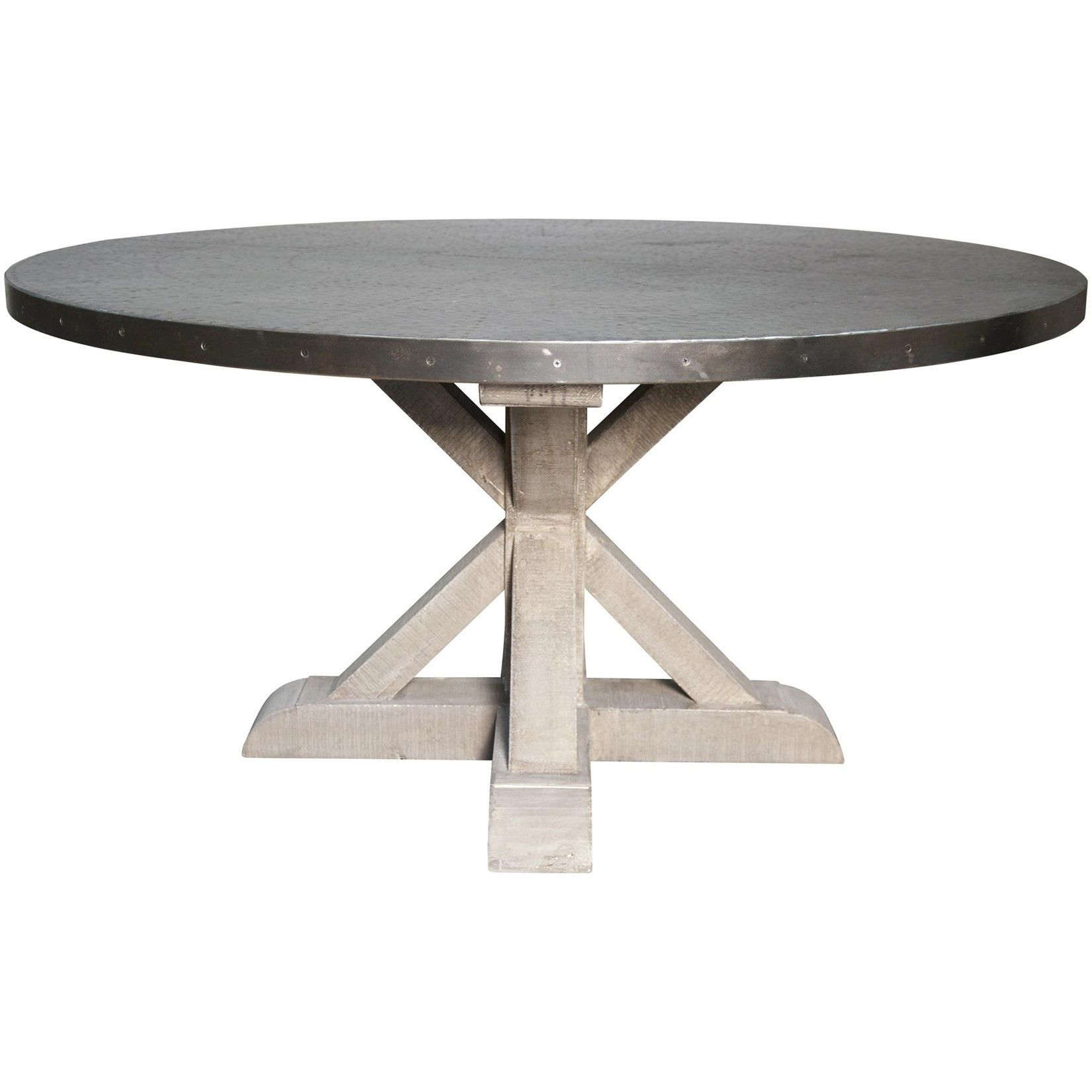 Noir Zinc Top Rd Table W Wooden X Base Vintage Dining Table Round Dining Table Zinc Table