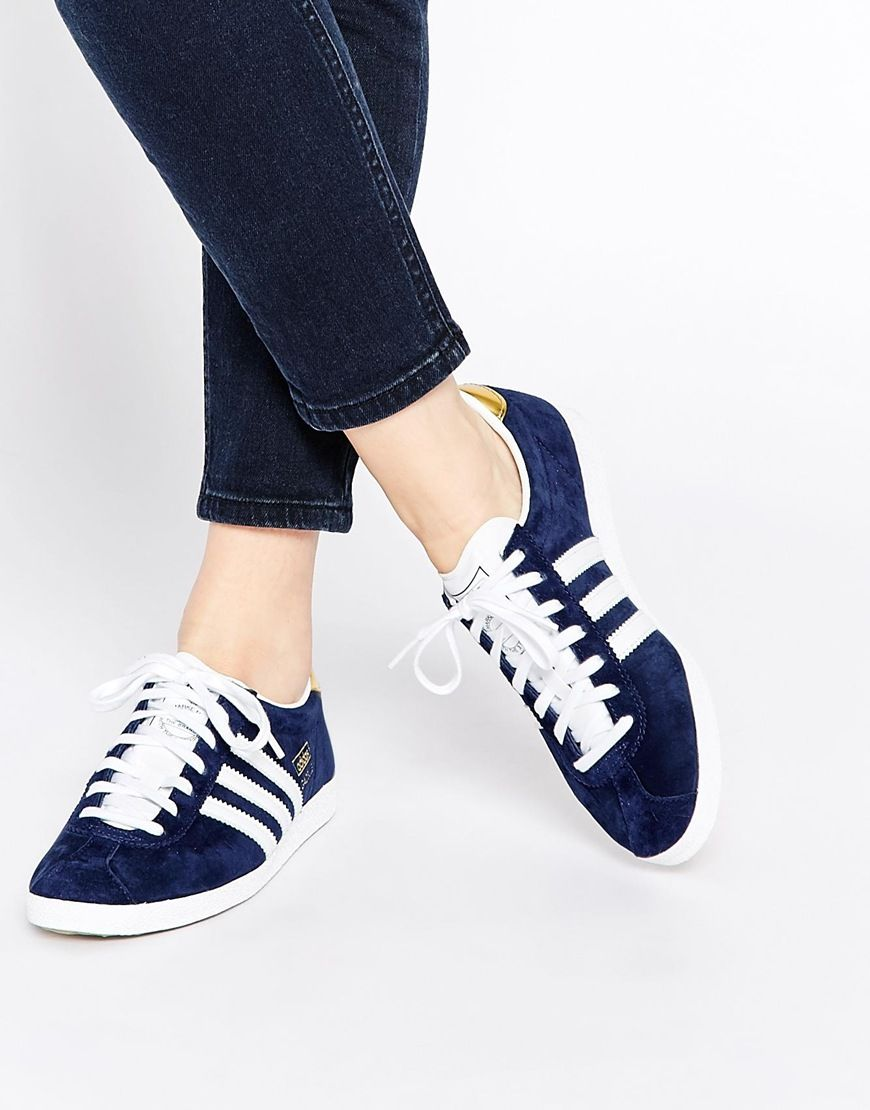 adidas Originals Gazelle Navy & White Trainers at asos.com ...