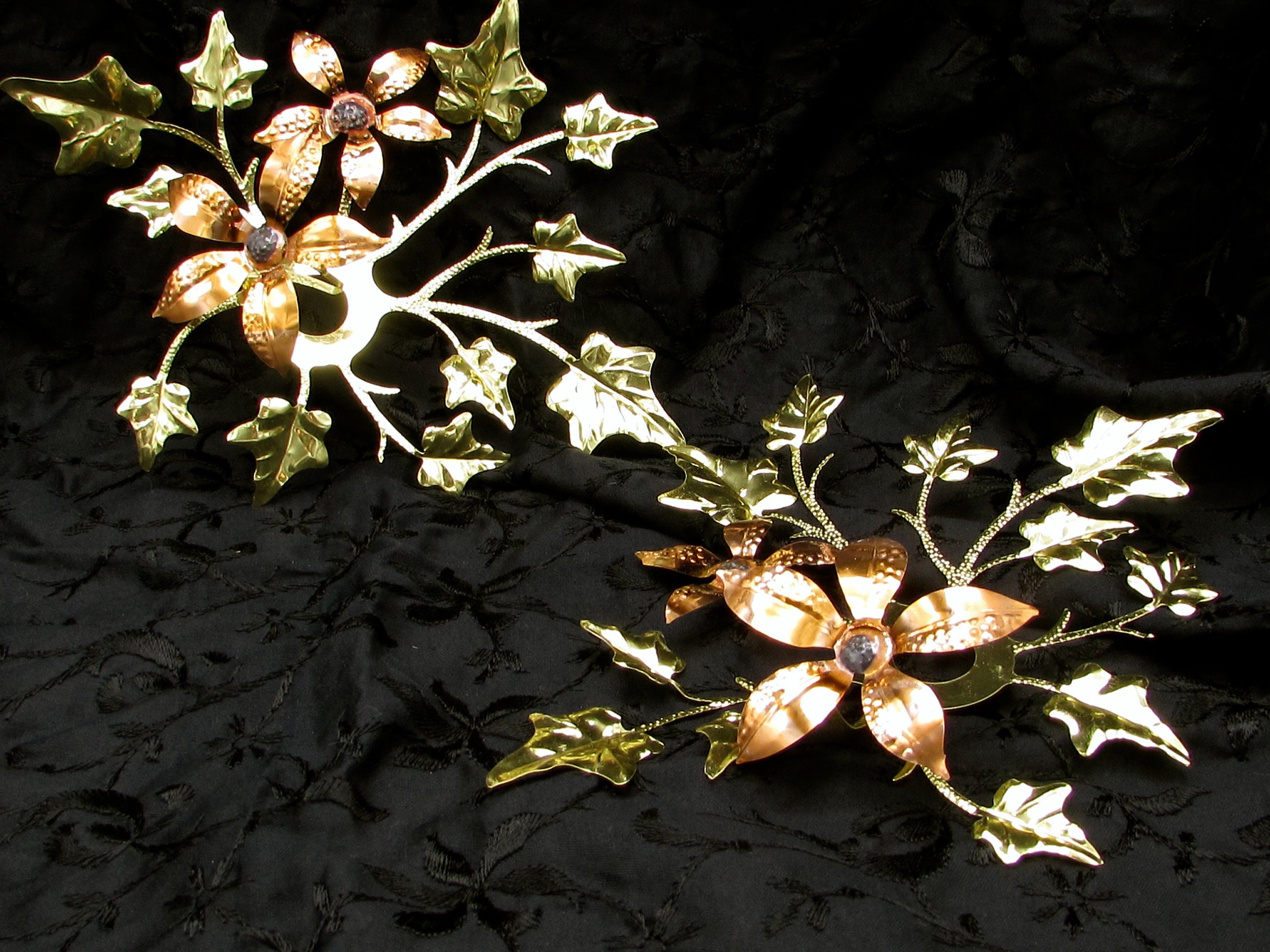 2e41d33e3a Metal Leaf and Flower Wall Decor, Gold and Copper Toned Flower and Leaves,  Two Light Weight 3 Dimensional Metal Leaf Wall Decorations