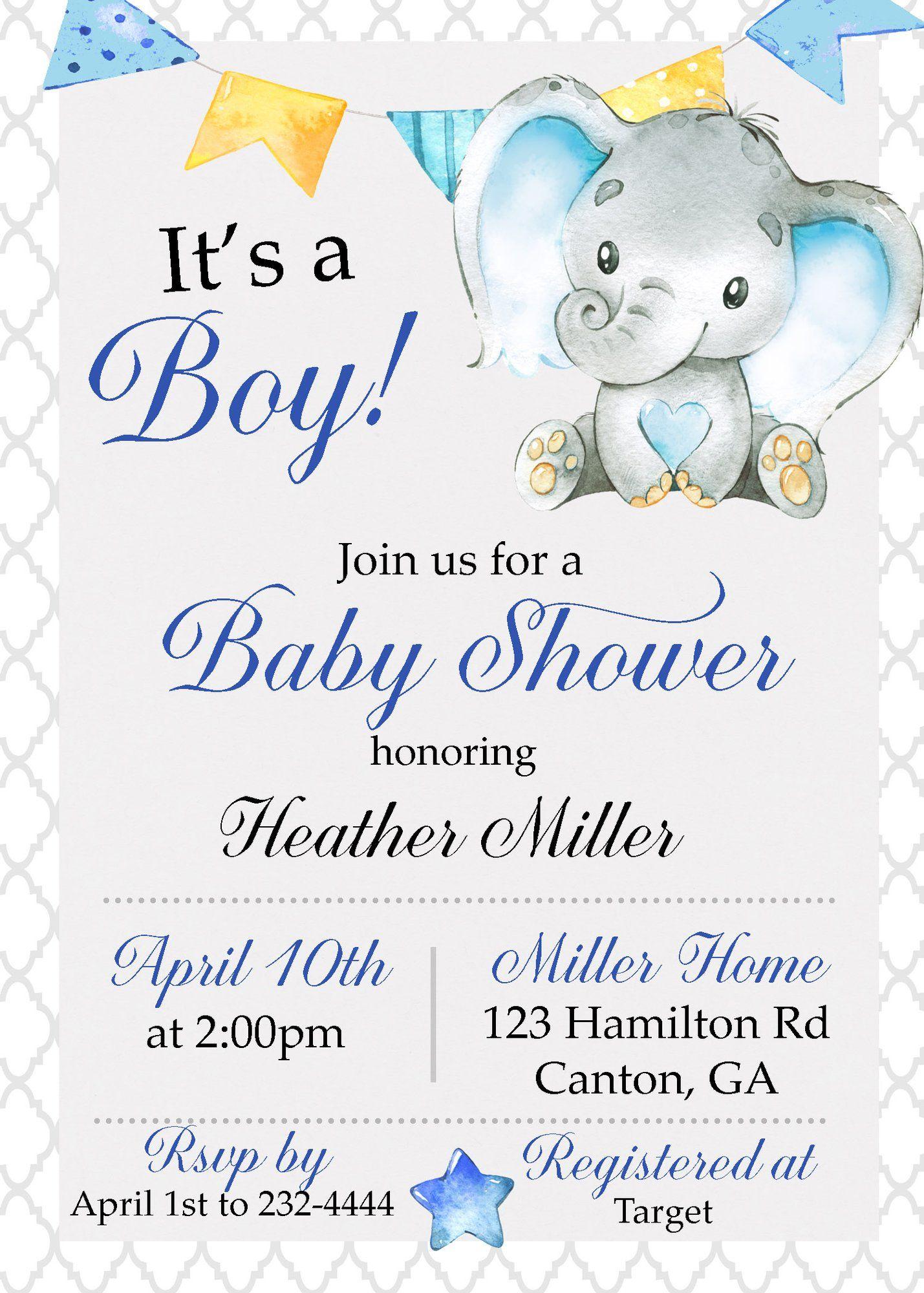 Elephant It S A Boy Baby Shower Invitation Elephant Baby Shower Invitations Boy Elephant Baby Shower Boy Elephant Baby Shower Theme