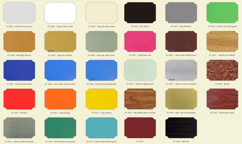 catalog màu sắc alu alcorest trong nhà pet | Màu sắc