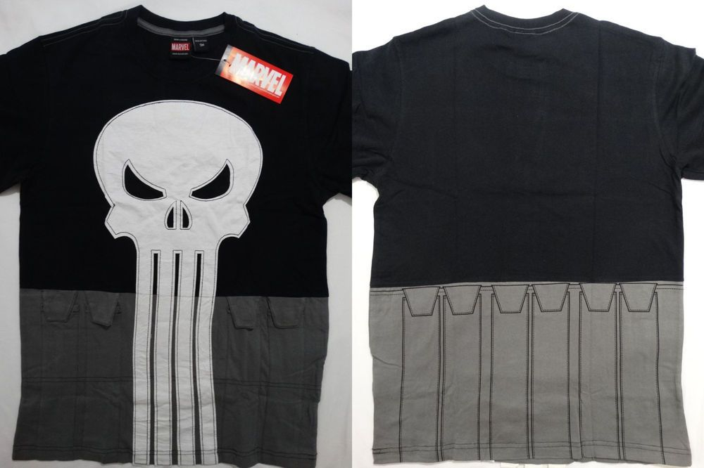 3bfa6664cdc8f Punisher Skull Cut and Sew Marvel Comics Costume T-Shirt  Marvel  GraphicTee