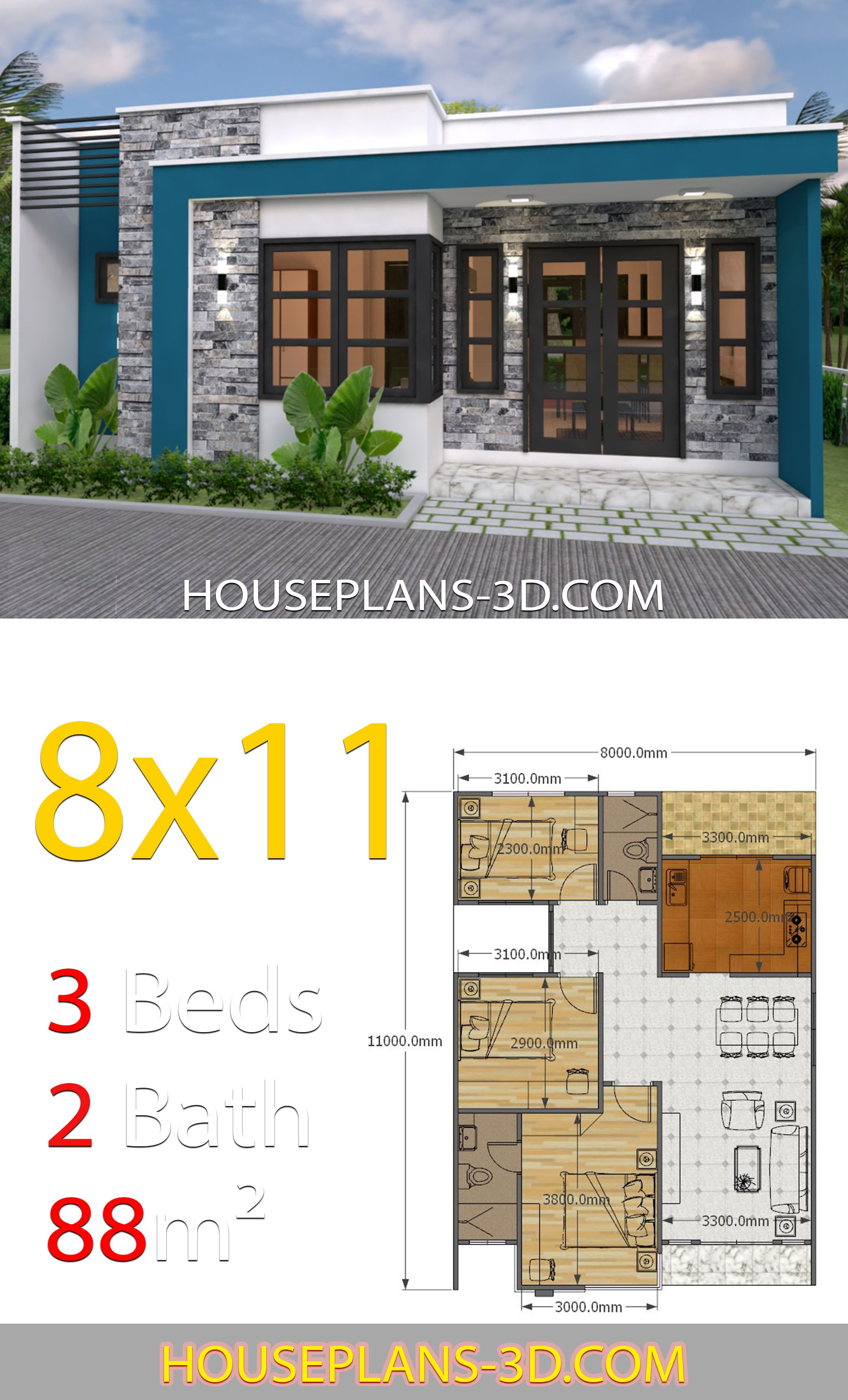 House Design 8x11 With 3 Bedrooms Full Plans House Plans 3d Bungalow House Plans House Plans House Construction Plan