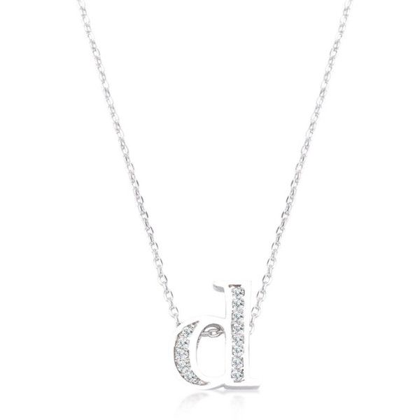 White gold rhodium plated pave cubic zirconia initial pendant with white gold rhodium plated pave cubic zirconia initial pendant with lobster clasp set in silvertone all aloadofball Image collections