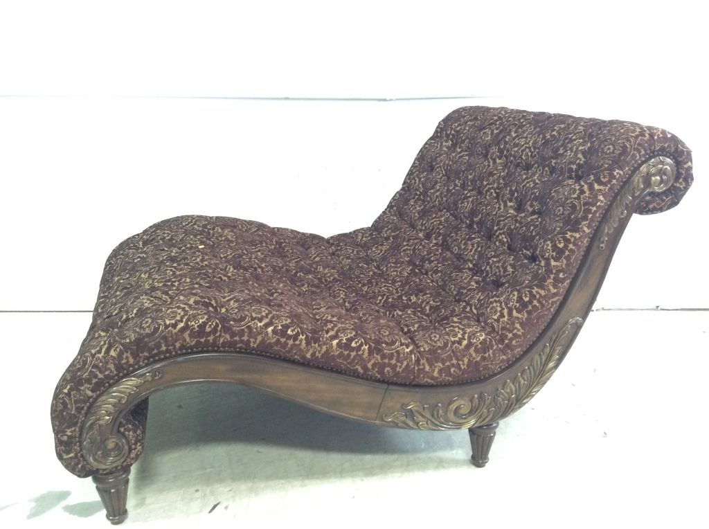 Large scaled carved tufted chaise lounge sold 1000