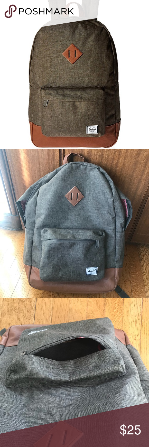 b710a92f852 Herschel Supply Co. Heritage Backpack Canteen Crosshatch Tan Synthetic  Leather. Used