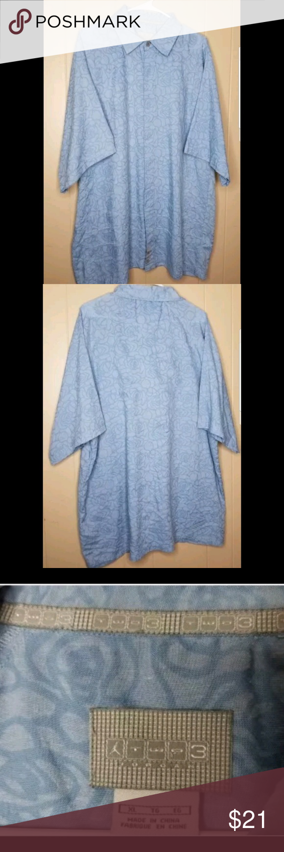 d7825aa4800978 Vtg Michael Jordan Two3 Button Up Shirt XL Blue Vtg Michael Jordan Two3  Button Up Shirt XL Retro Rare Jumpman Blue Pattern Length  33