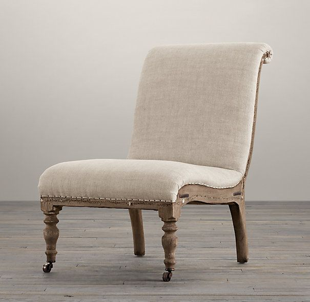 Deconstructed French slipper chair from Restoration Hardware