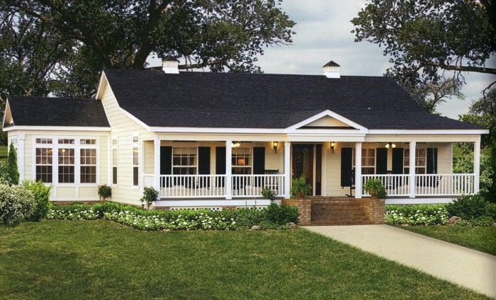 Single Story Ranch Style Homes With Wrap Around Porch Country Living Ranch Style Homes Modular Home Floor Plans Farmhouse House
