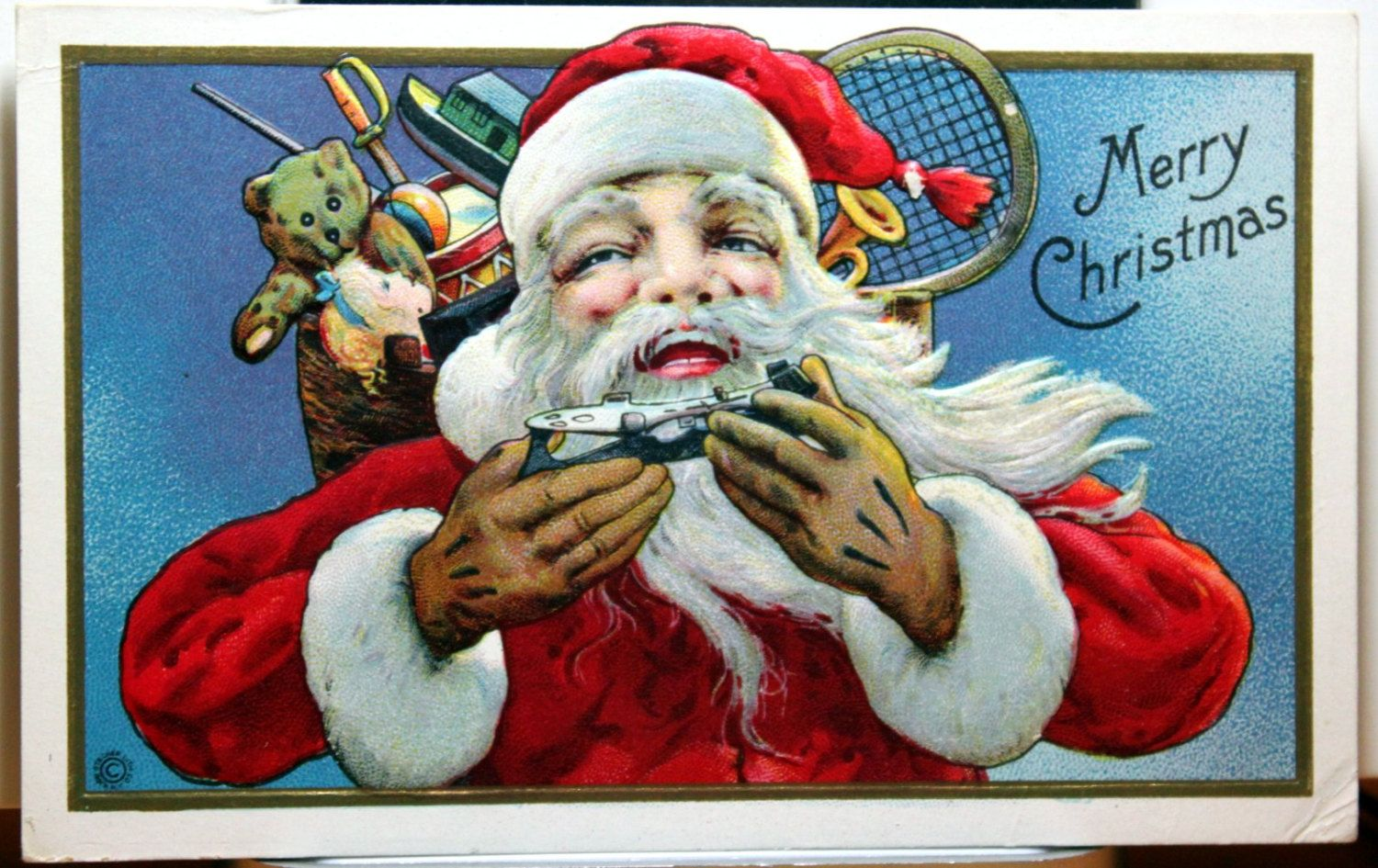 Santa Claus offering ice skates, Large Bag of toys, Close up view postcard C1910 by JerryBurton on Etsy