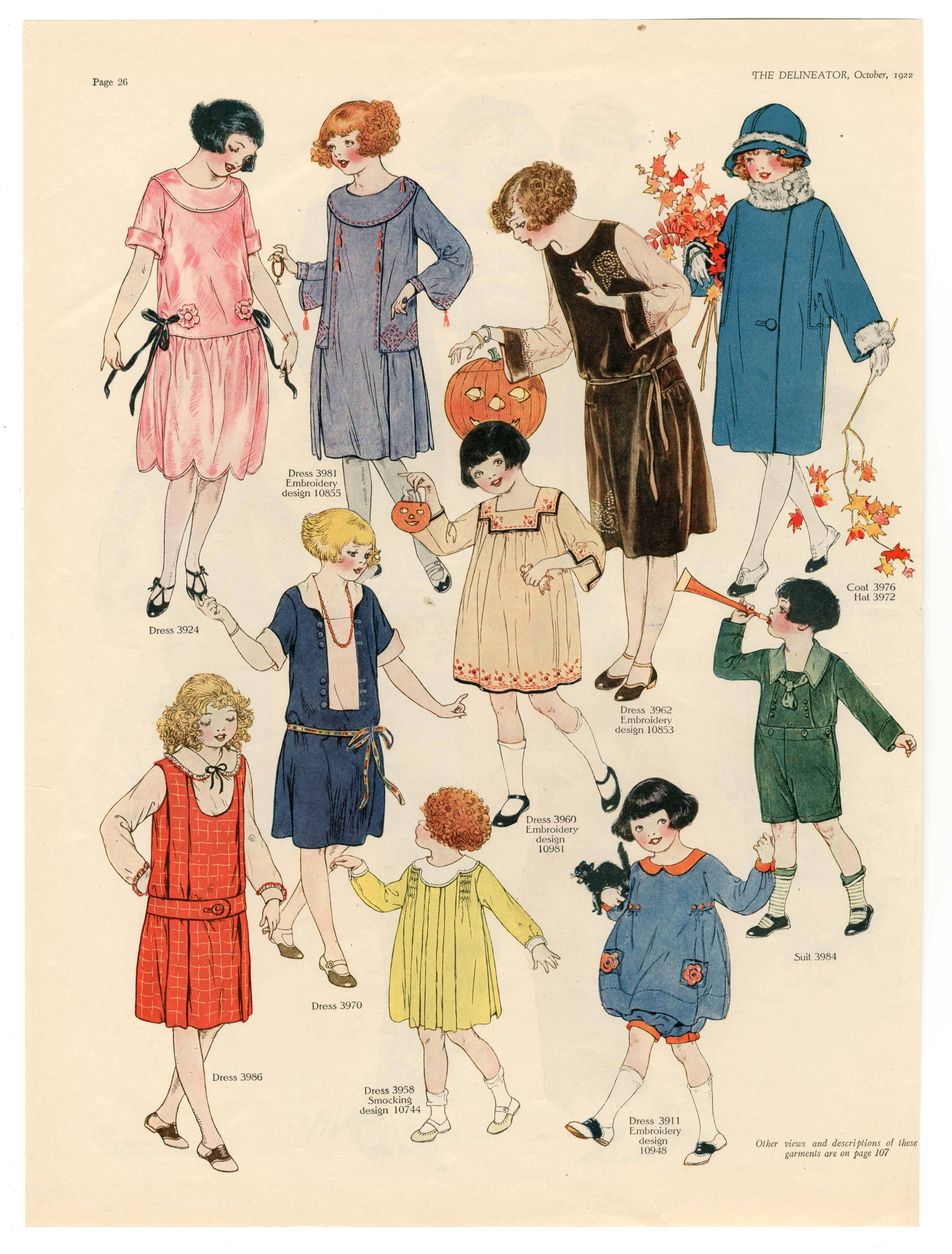 1920 S Children S Clothing Fashion Plate Vintage