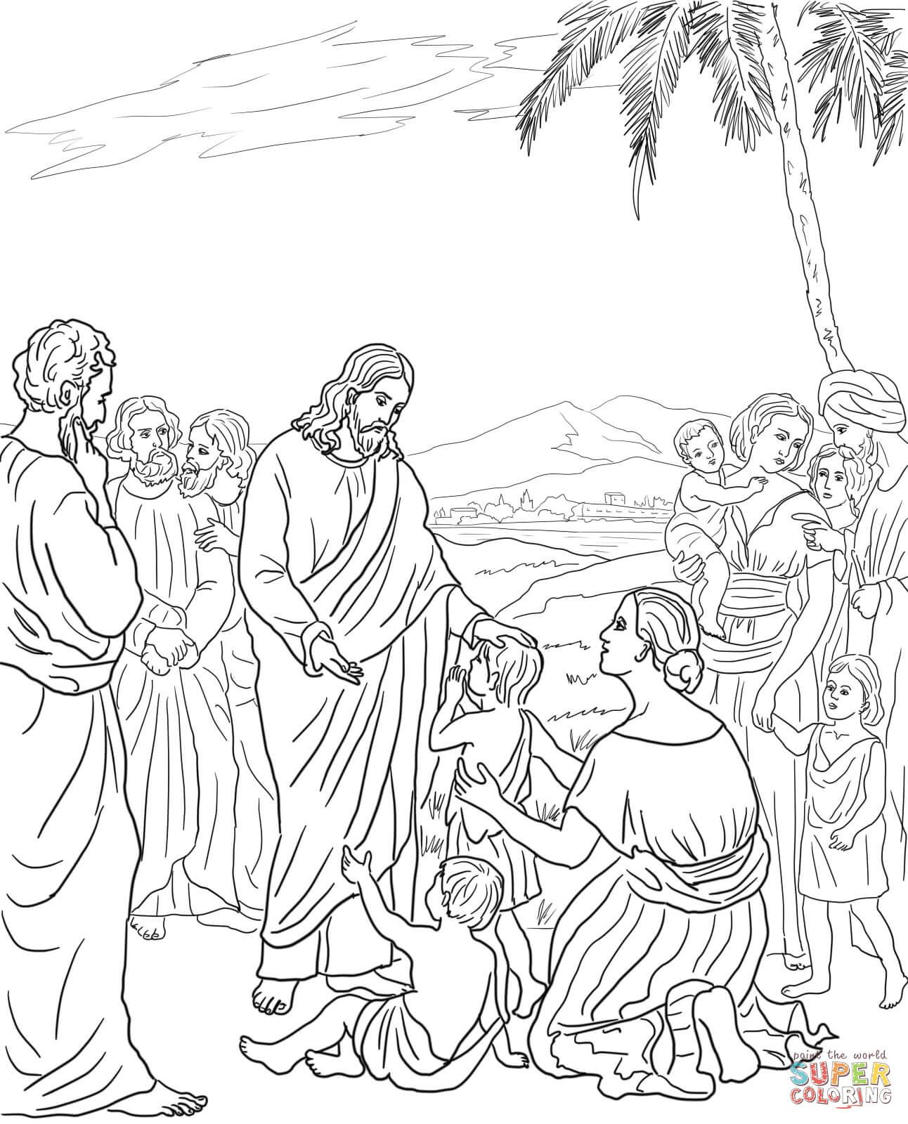 Jesus Blesses The Children Coloring Page From Mission Period Category Select 25409 Printable Crafts Of Cartoons Nature Animals Bible And Many