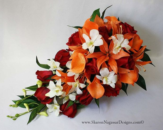 Red Orange Off White Cascade Cascading Bouquet Real Touch Flowers Tiger Lilies Roses Calla Orchids Silk Wedding