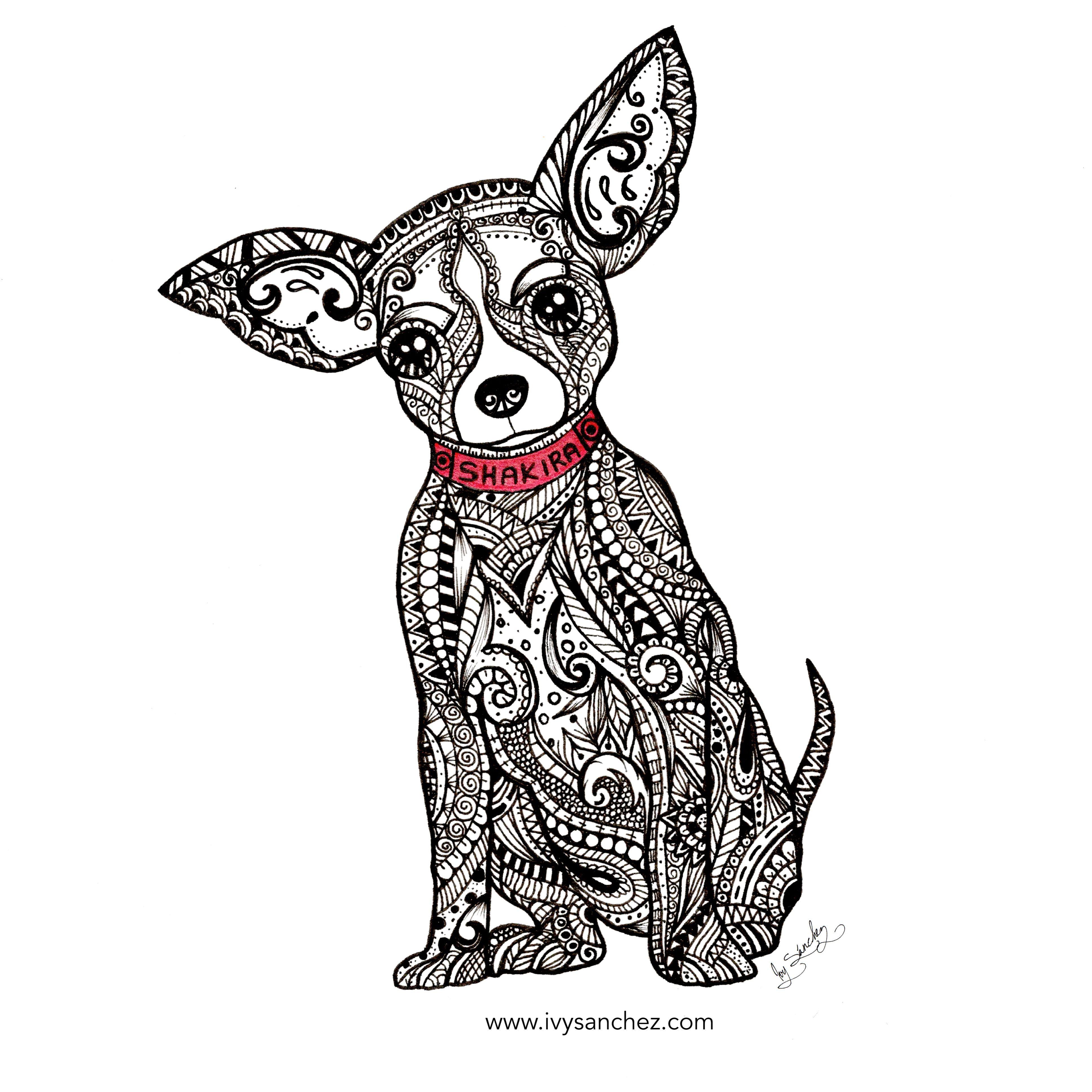 chihuahua zendoodle dog handmade ink illustration zentangle