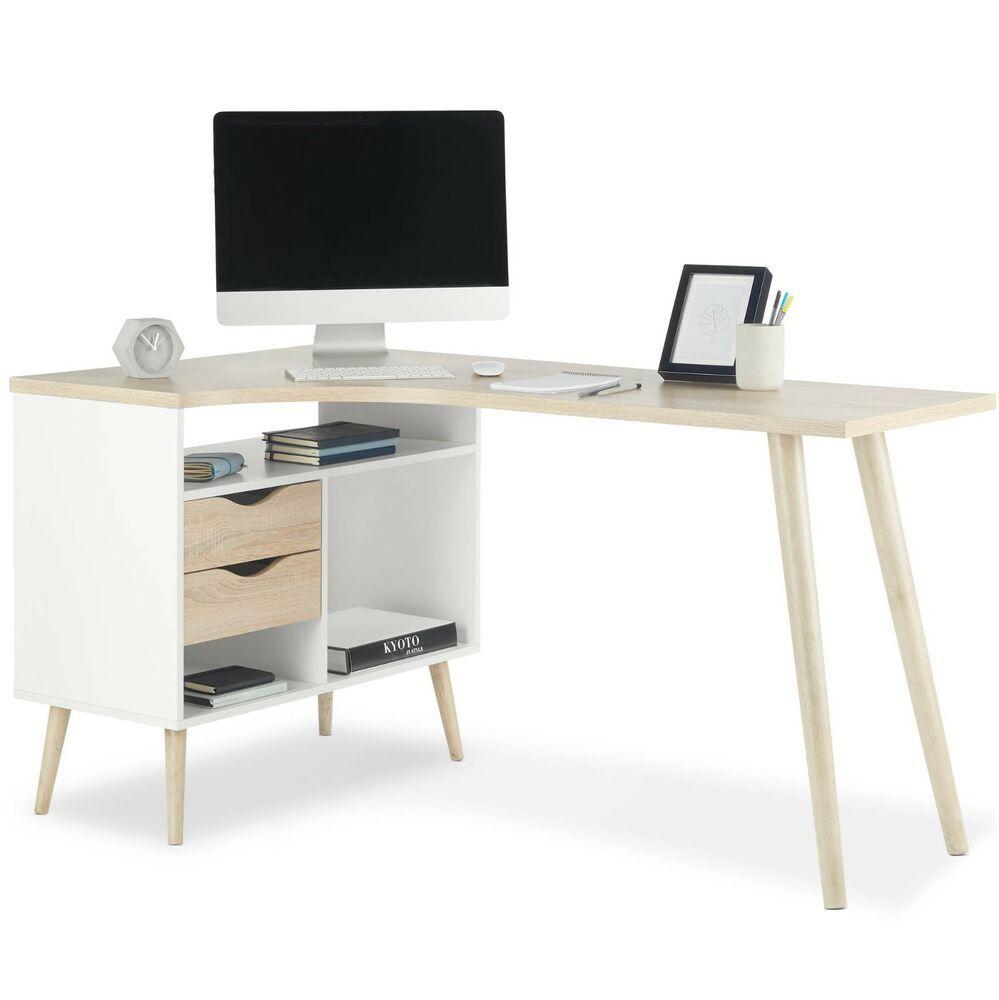 Vonhaus L Shaped Computer Desk Scandinavian Nordic Style Corner Workstation Contemporary Home Office Furniture Computer Desk Contemporary Home Office
