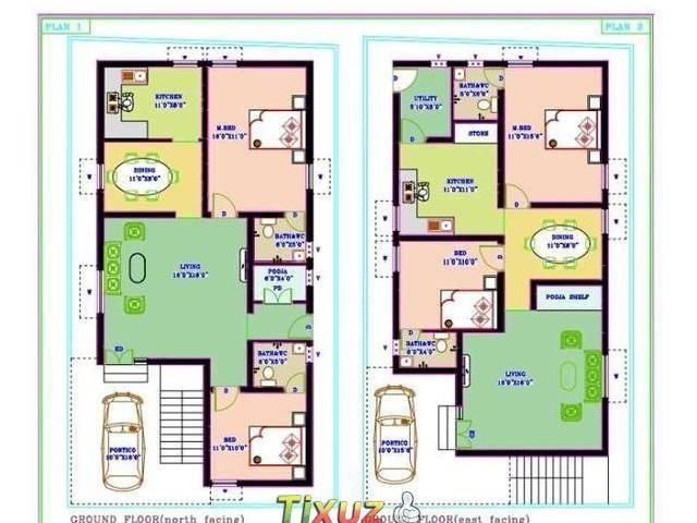 Tamilnadu house plans north facing for 30x50 duplex house plans