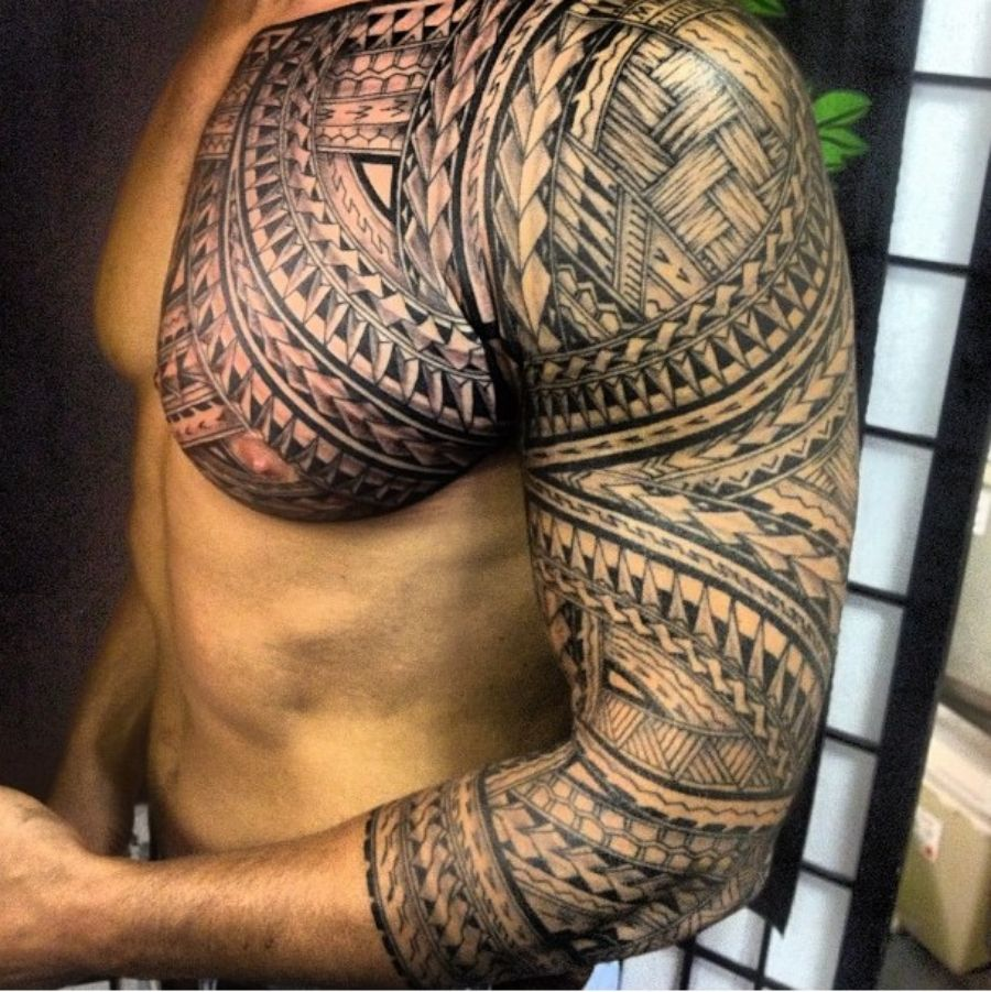 polynesian tattoo sleeve of the handsome man cool pinte. Black Bedroom Furniture Sets. Home Design Ideas