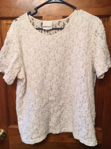 0b445d8319 Fashion-Bug-White-Lace-Top-Plus-Size-18-20-1X-Short-Sleeve-Blouse ...