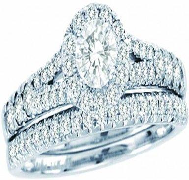 White Gold With Round Center StoneAnd Round Diamonds Bridal Ring Set (1.00ct. tw) -28137197