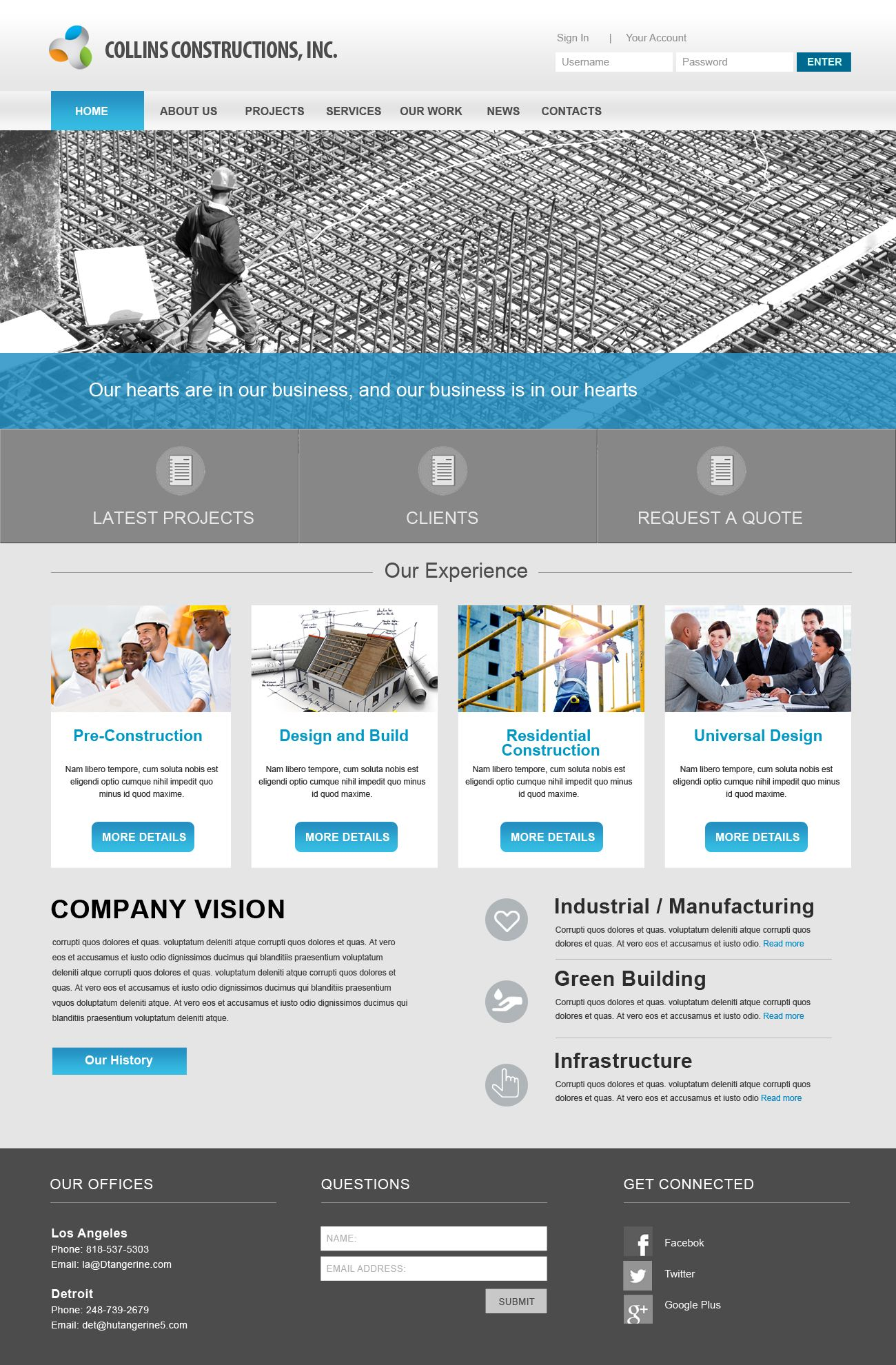 Construction Website Inspiration Internet Marketing Seo Website Design Brand Building